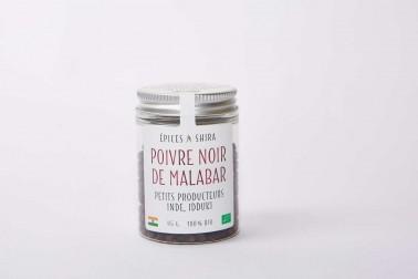 Pot de poivre noir bio de Malabar (piper nigrum, MG1 ou Malabar black pepper) en vente sur le site Epices Shira