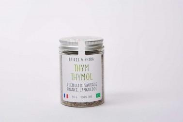 Pot de thym thymol bio et sauvage (thymus vulgaris) vendu sur le site Epices Shira