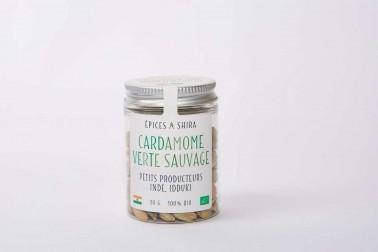 Pot de cardamomes vertes bio et sauvages (elettaria cardamomum) sélectionnées par Epices Shira
