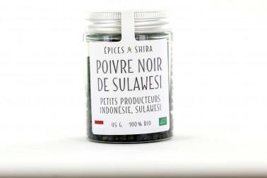 Pot de poivre noir biologique de Sulawesi, en vente sur notre site Epices Shira