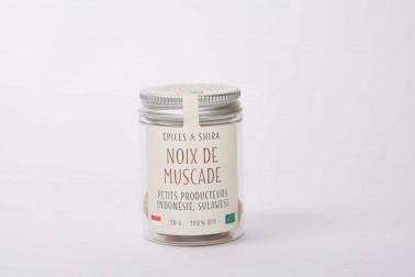 Pot de noix de muscade bio (myristica fragrans, nutmeg) en vente sur le site Epices Shira