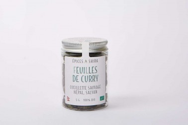 Pot de feuilles de curry biologiques (murraya koenigii, curry leaves) en vente sur Epices Shira
