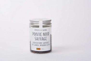 Pot de poivre noir sauvage du Sri Lanka (piper nigrum, wild black pepper) en vente sur le site Epices Shira
