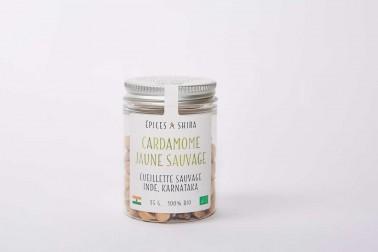 Pot de cardamome jaune biologique (elettaria cardamomum, yellow cardamom) en vente sur le site de Epices Shira