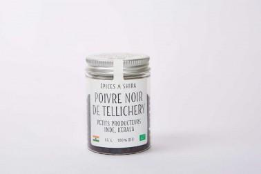 Pot de poivre noir bio de Tellicherry (piper nigrum, Tellicherry black pepper) en vente sur le site Epices Shira