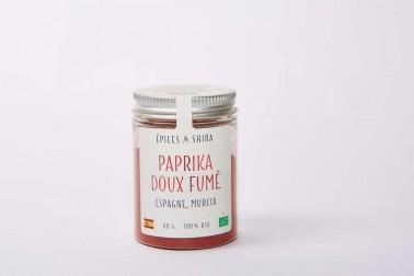 Pot de paprika doux fumé biologique (capsicum annuum) en vente sur notre site Epices Shira