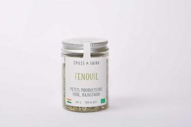 Pot de graines de fenouil bio (foeniculum vulgare, fennel) en vente sur le site Epices Shira