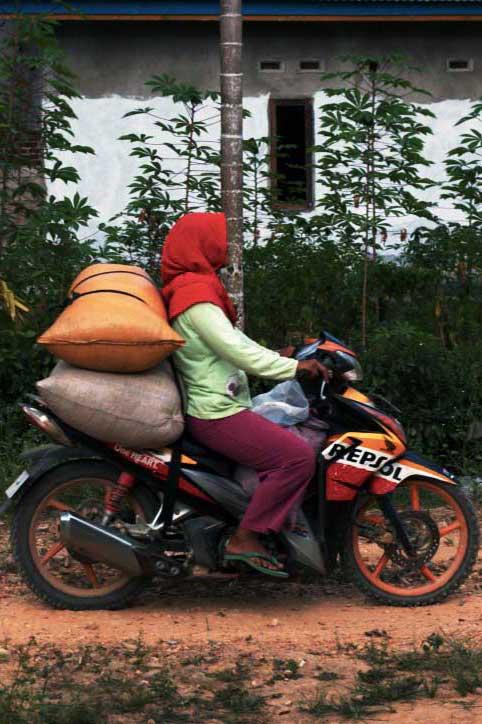 Productrice sur une moto, chargée à l'arrière de sac de poivre