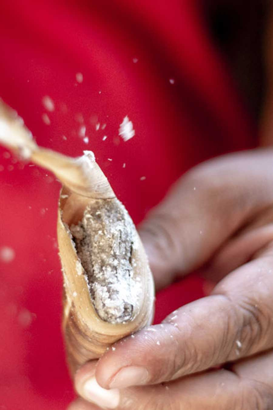 Sel fumé de Bali dans une feuille de cocotier