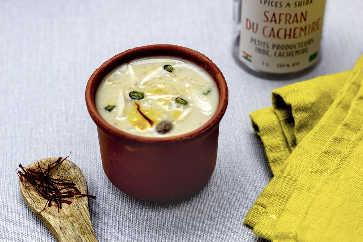 kheer au safran, recette végétarienne, recette vegan, recette sans gluten, épices biologiques, cuisine indienne, Épices Shira