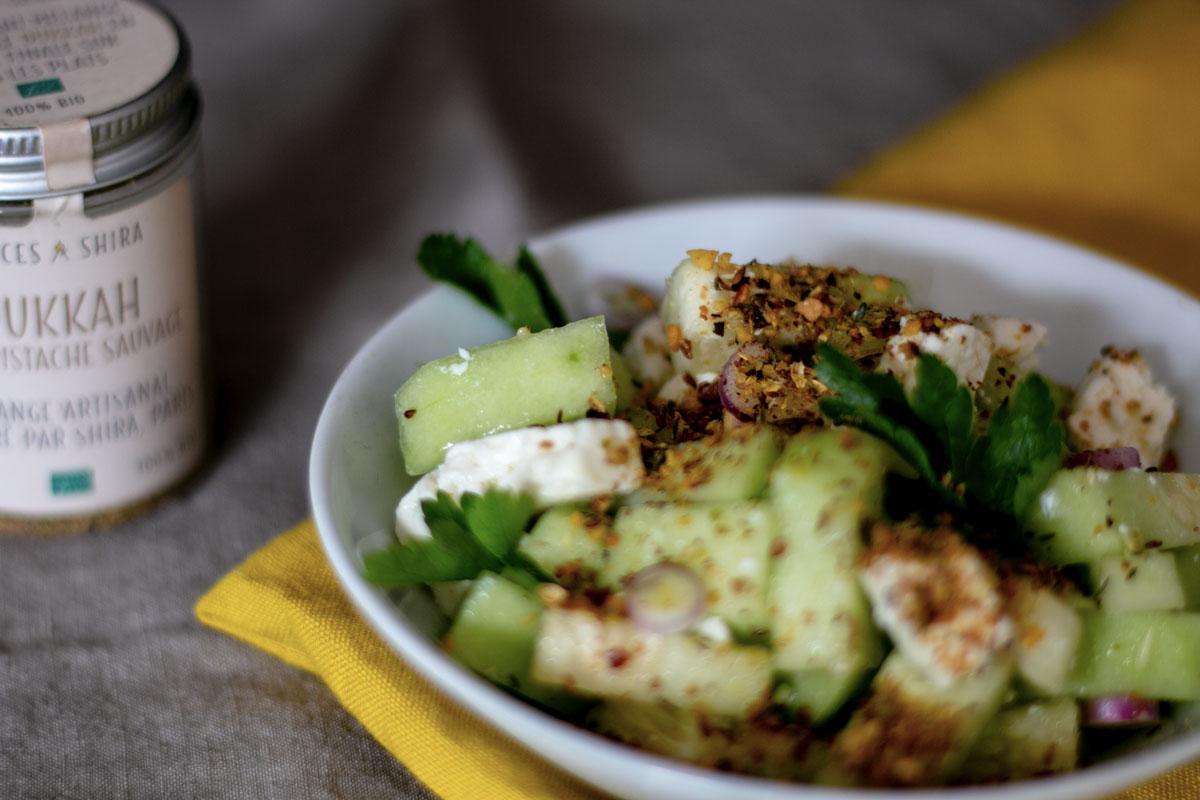 salade de concombre à l'ajwain et au dukkah, recette végétarienne, recette sans gluten, épices biologiques, Épices Shira